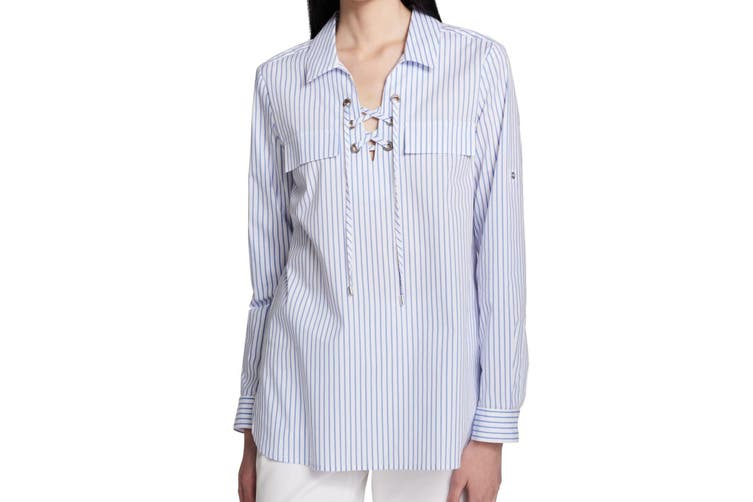Calvin Klein Women's Blouse Blue Size Small S Lace-Up Striped Print