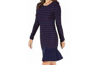 Michael Kors Women's Dress Red Blue Size P Petite Stripe Ruffle Hem