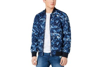 American Rag Mens Jacket Blue Size XL Floral Print Flight/Bomber