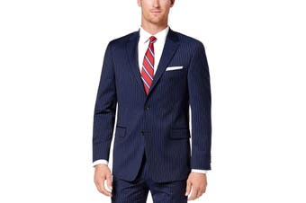 Tommy Hilfiger Mens Blazer Blue Size 44 Long Stripe Modern Two Button