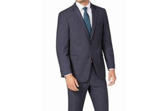 Tommy Hilfiger Mens Blazer Blue Size 40 Long Modern-Fit THFlex Plaid