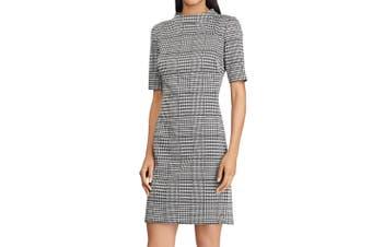 American Living Women Dress Gray Size 12 Sheath Glen-Plaid Houndstooth