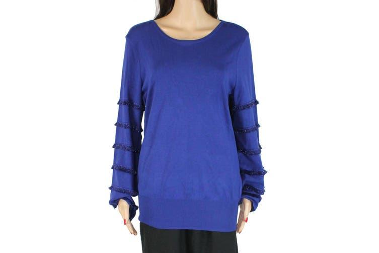 Alfani Women's Sweater Cobalt Blue Size Large L Boat Neck Tiered Fringe