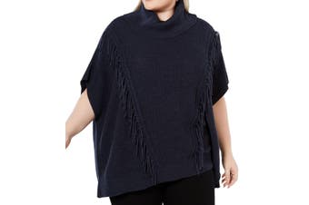 Anne Klein Women's Sweater Navy Blue 2X Plus Poncho Turtleneck Fringe