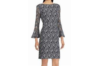American Living Women's Dress Black Size 18 Sheath Lace Bell Sleeve