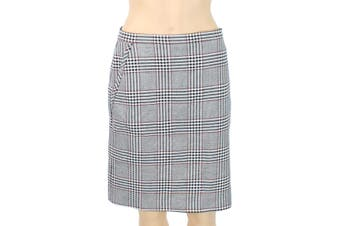 Anne Klein Women's Skirt Black Gray Size 10 Straight Glen Plaid Print