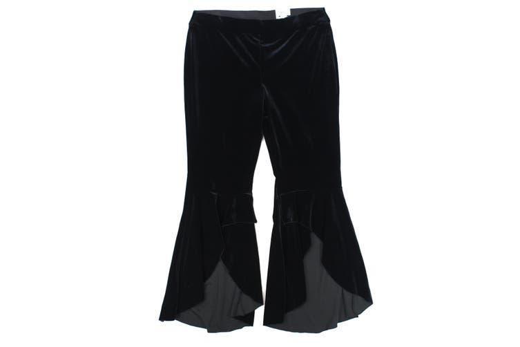INC Women's Dress Pants Black Size 12 Velvet Wide Slit Leg Pull-On