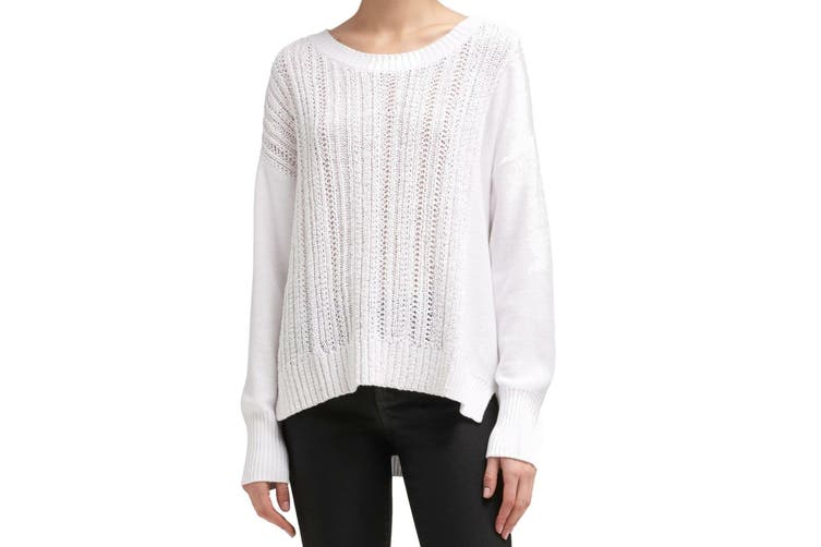 DKNY Women's Sweater Snow White Size XL Crewneck Cable Ribbed Knit