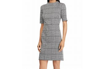 American Living Women Dress Gray Size 14 Sheath Glen-Plaid Houndstooth