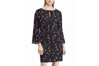 American Living Women's Dress Black Size 16 Shift Crepe Floral Keyhole