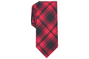 Bar III Mens Red Black Sebury Slim Skinny Plaid Neck Tie Cotton
