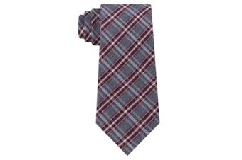 Kenneth Cole Reaction Mens Gray Best Of Red Plaid Classic Neck Tie Silk