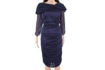 Alex Evenings Women's Dress Blue Size 16W Plus Sheath Ruched Sheer