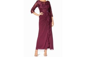 Alex Evenings Women's Gown Purple 16 Ruffle Cascade Sequin Embellish