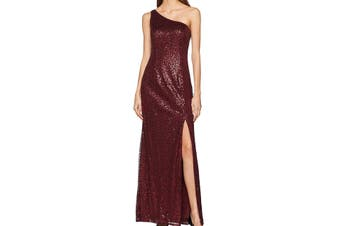 Adrianna Papell Women's Gown Red Size 10 Sequin Embellish T High Slit