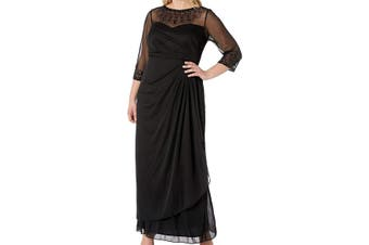 Alex Evenings Women's Gown Black Size 16W Plus Embellished Sheer
