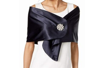 Adrianna Papell Wrap Navy Blue Size M Pearl Brooch Charmeuse Coverup