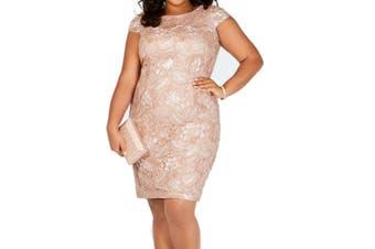 Alex Evenings Women's Dress Pink Size 20W Plus Sheath Sequin Embellish