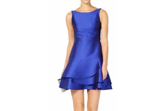 Adrianna Papell Women's Dress Blue Size 2P Petite A-Line Tiered