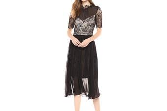 Avec Les Filles Women's Dress Black Size 10 Sheath Lace Mesh Contrast