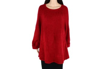 Style & Co Women's Sweater Red 3X Plus Knit Boat Neck Bishop Sleeve