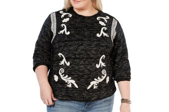 Lucky Brand Women Sweater Black White Size 2X Plus Pullover Embroidered