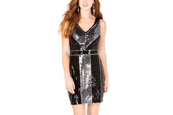 B. Darlin Dress Silver Size 10 Junior Sheath V-Neck Sequin Colorblock