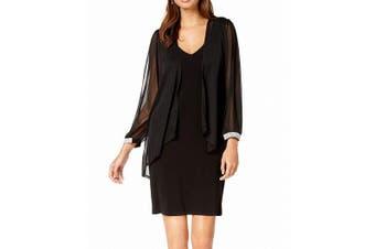 Connected Apparel Women's Dress Black Size 12 Shift V-Neck 2-Piece