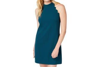 BCX Juinor Dress Teal Green Size XXS Sheath Scalloped Crepe Scuba