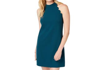 BCX Juinor Dress Teal Green Size XS Sheath Scalloped Crepe Scuba