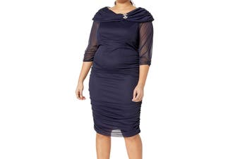 Alex Evenings Women's Dress Blue Size 16W Plus Sheath Sheer Ruched