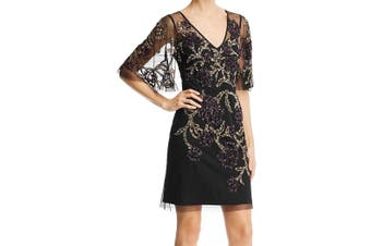 Aidan Mattox Women's Dress Black Size 8 Sheath Sequin Embellish