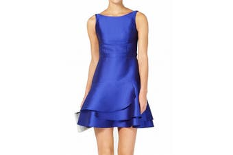 Adrianna Papell Women's Dress Blue Size 12 A-Line Satin Tiered Slit