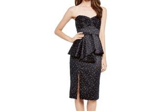 Bardot Women's Dress Blue Size 4 A-Line Strapless Peplum Polka Dots