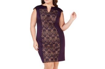 Connected Apparel Women's Dress Purple Size 24W Plus Sheath Lace