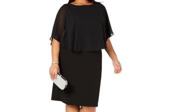 Connected Women's Dress Deep Black Size 14W Plus Chiffon Overlay
