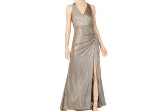 Adrianna Papell Womens Gown Beige Size 4 Metallic Surplice T High Slit