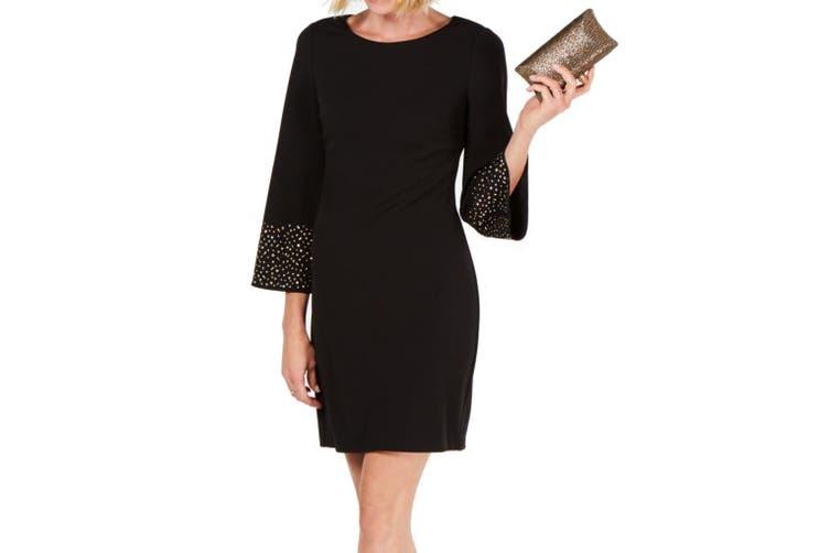 Jessica Howard Women's Dress Black Size 14P Petite Sheath Bell Sleeve