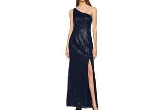 Adrianna Papell Women's Dress Blue Size 18 Surplice Thigh High Slit