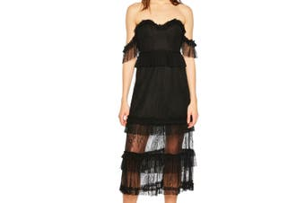 Bardot Women's Dress Black Size 8 Sheath Off-Shoulder Floral-Lace
