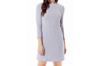 Avec Les Filles Womens Dress Gray Size Medium M Sheath Ribbed Mock Neck