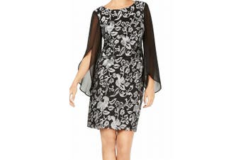 Connected Apparel Women's Dress Black Silver Size 6 Sheath Embroidered