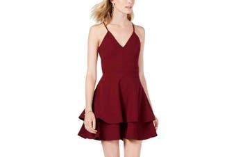 B Darlin Juniors Dress Burgundy Red Size 5/6 A-Line Ruffle Fit & Flare