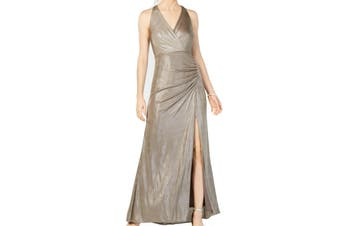 Adrianna Papell Women's Dress Beige Size 10 Gown Metallic Side Slit