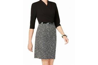 Connected Women's Dress Black Gray Size 10 Sheath Belted Surplice