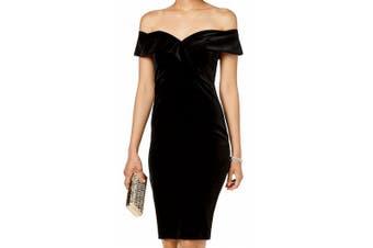 Bardot Women's Dress Black Size Small S Sheath Velvet Off Shoulder
