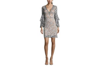 Betsy & Adam Women's Dress Gray Size 2 Bell-Sleeves V-Neck Embellished