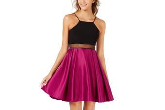 Blondie Dress Pink Black Size 9 Junior A-Line Halter Illusion Waist