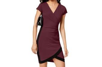 Almost Famous Women's Dress True Purple Size XXS Sheath Faux-Wrap