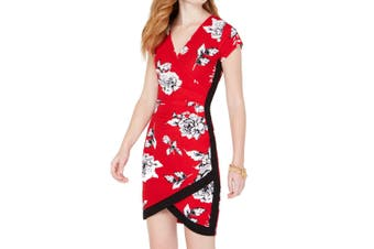 Almost Famous Juinor Dress Red Size Small S Sheath Faux Wrap Floral